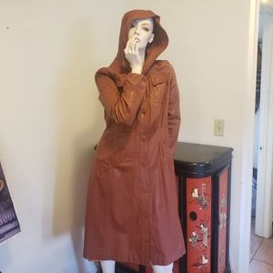 Vtg 70s Nordstrom brown leather trench coat 10